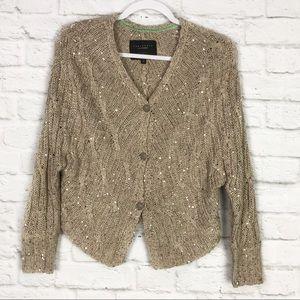 Sanctuary XS Beige / Gold Sequin ButtonUp Cardigan